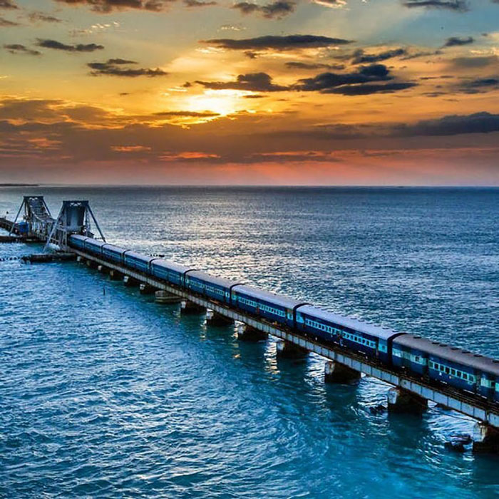 Chennai-Rameswaram, Sethu Express - This bridge has historical significance and as per mythology, this bridge was built by Lord Rama so as to rescue his wife, Sita and is considered one of the holiest places in India. The train journey offers breathtaking views and the thrill doubles when it crosses the restricted Pamban Bridge.
