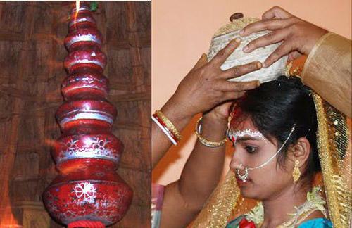 1. At Bihari weddings, the bride has to carry earthen pots on her head and greet elders
