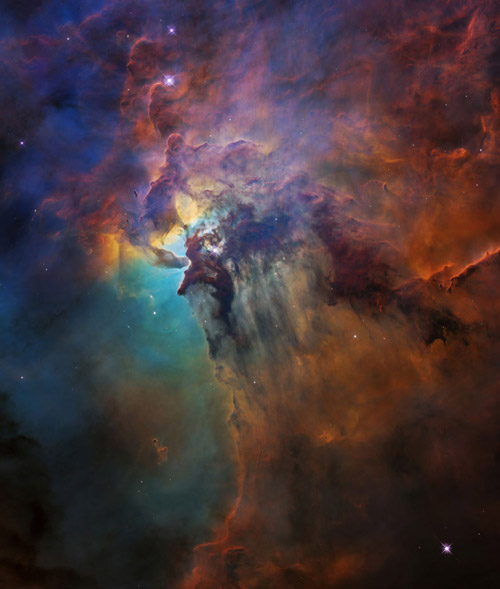 Ultraviolet radiation and stellar winds from a giant star called Herschel 36 push through dust in curtain-like sheets in the Lagoon Nebula stellar nursery, located 4,000 light-years away, in this Hubble Space Telescope image.