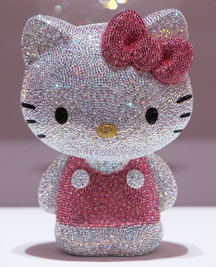 A Hello Kitty figurine, studded with 19,636 Swarovski crystals - The figurine was put on sale with a price tag of 1,155,000 yen ($14,246).