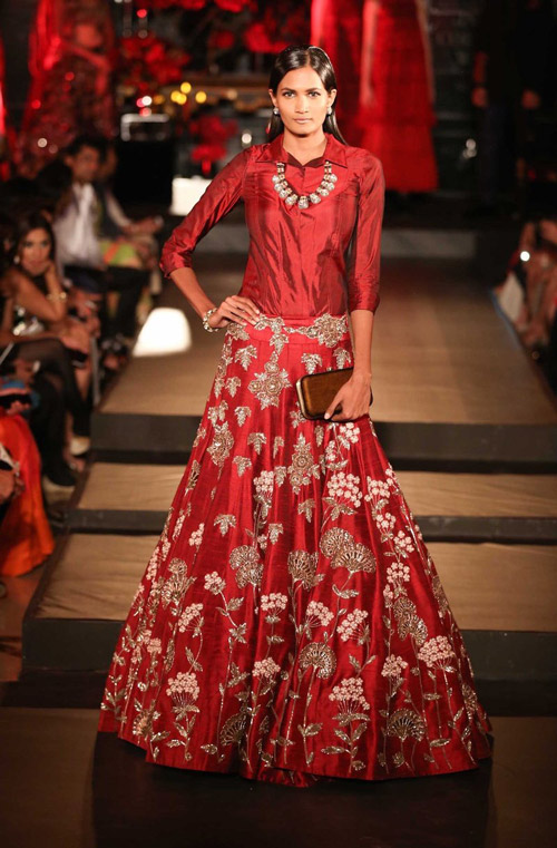 1. Pair a button down-shirt or a top with your lehenga skirt for the perfect party attire.