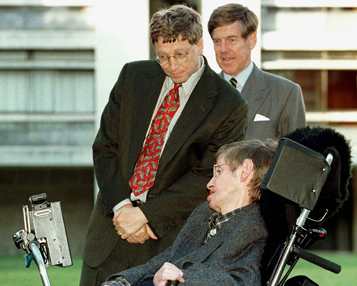 American business magnate and founder of Microsoft, Bill Gates with Stephen Hawking.