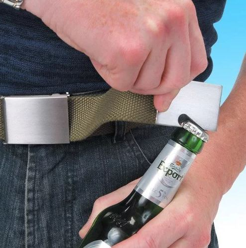 1. Belt Buckle You can carry off these stylish buckles with lots of elan. Impress your audience by putting your belt buckle to use and opening up your beer bottle with equal elan.