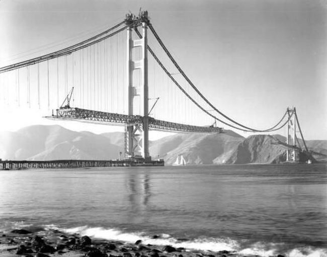 Golden Gate Bridge Under Construction (1937)