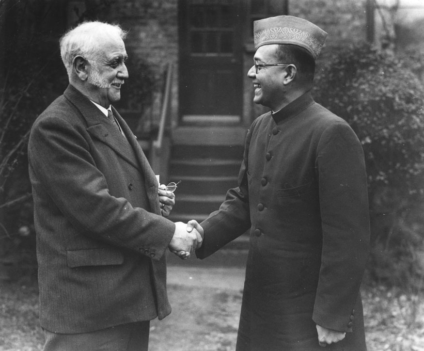Labour politician and editor of the Daily Herald, George Lansbury greeting Subhas Chandra Bose Indian Nationalist leader and supporter of the Axis in WW II