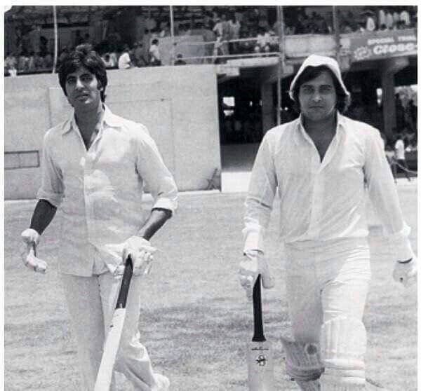 Amitabh and Vinod Khanna opening heading out to play in a charity match back in 70s