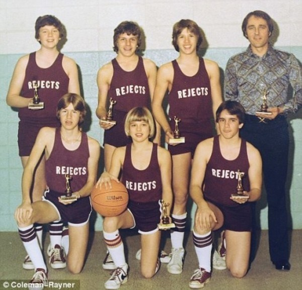 Brad Pitt (holding the ball) with his childhood basketball team the Cherokee Rejects in Springfield, Missouri [1977].