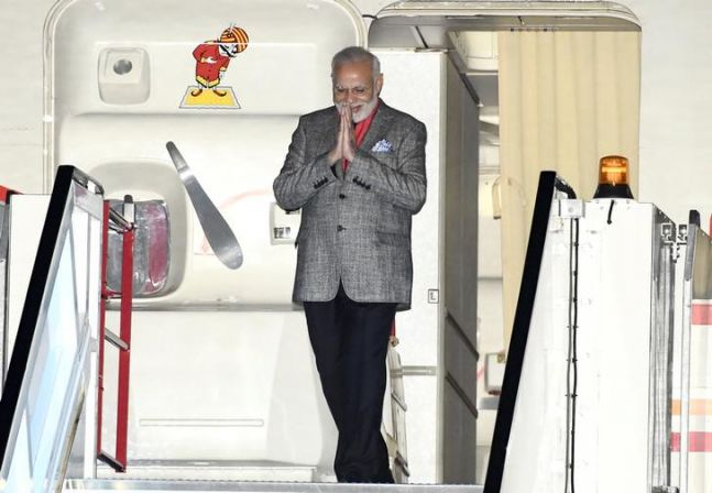 Prime Minister Narendra Modi looked dapper in a grey suit, which he wore for his Sweden trip.