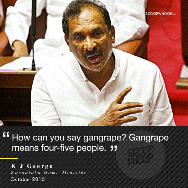 2. Karnakatak Home Minister made a revolting comment about rape while replying to a question about the gang rape of a 22-year old BPO employee by the driver and cleaner of a van in Bangalore.
