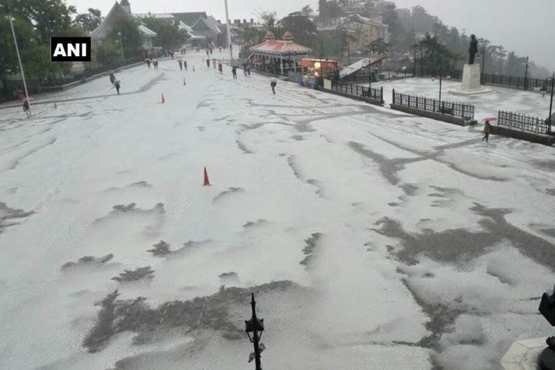 Himachal Pradesh: Shimla was hit by severe hailstorm followed by rain on Tuesday.