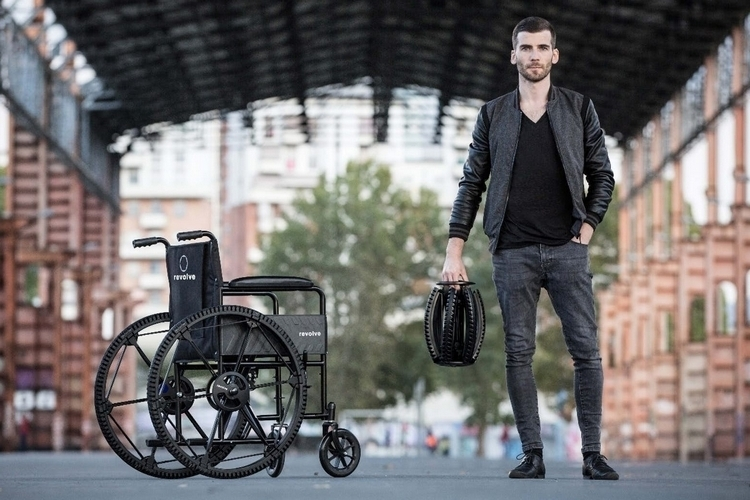 The Revolve Folding Wheel is a 26-inch spoked wheel designed for use in bicycles and wheelchairs