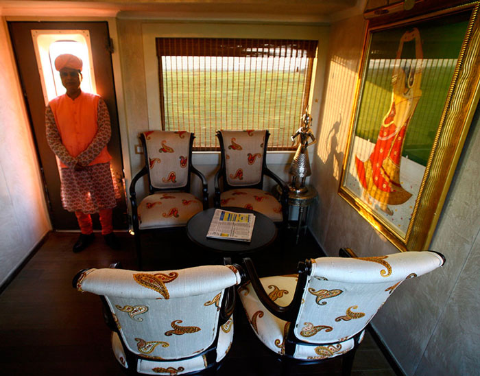 The lobby of the luxury train named Palace on Wheels