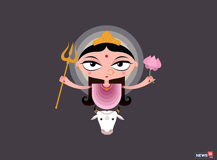 Mata Shailaputri: Shailaputri means the daughter (putri) of the mountains (shaila). She is the first of the nine avatars of Durga (the Navadurgas). The embodiment of the powers of the Trinity - Brahma, Vishnu and Shiva, she rides a bull and carries a trident and a lotus in her hands.
