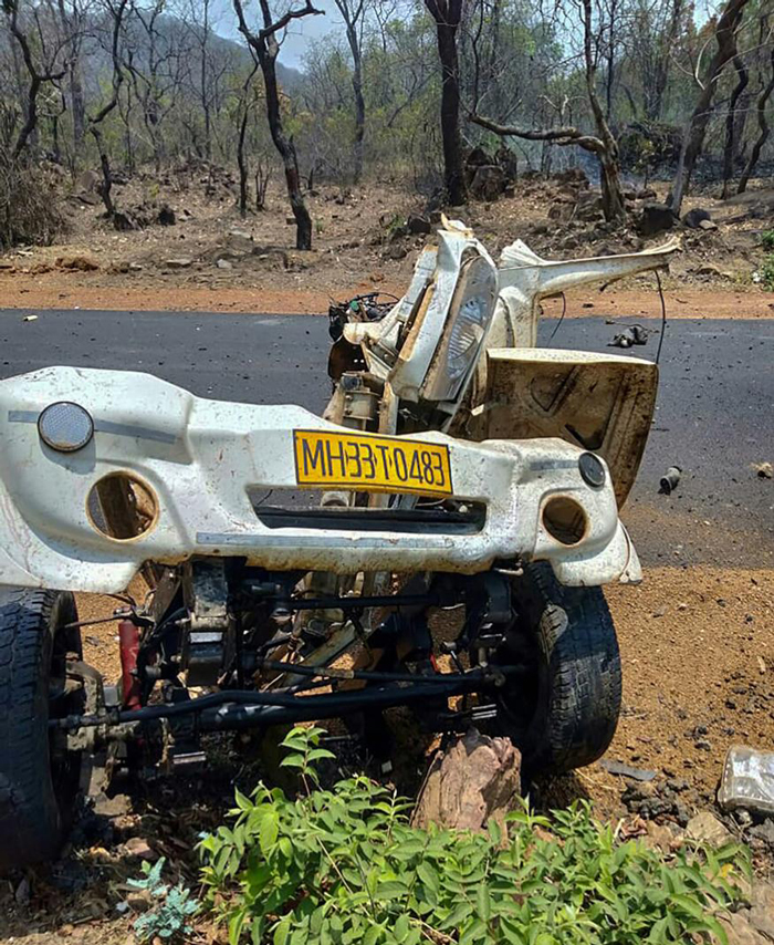 Mangled remains of a police vehicle that was blown up, allegedly by the Maoist rebels by using IED, while it was carrying 16 security personnel, in Gadchiroli district of Maharashtra.