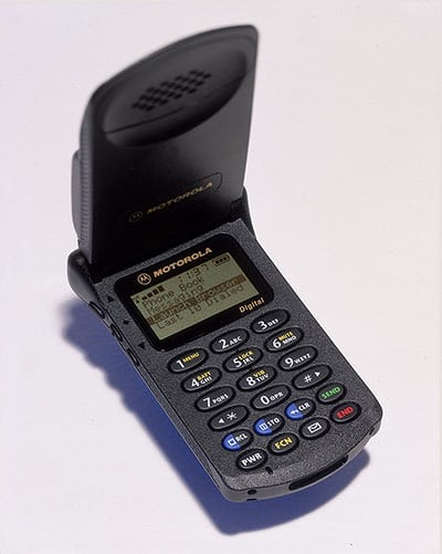 Motorola StarTAC (1996), the first clamshell/flip mobile phone. In all, 60m were sold: when released, it was the smallest mobile phone on the market.