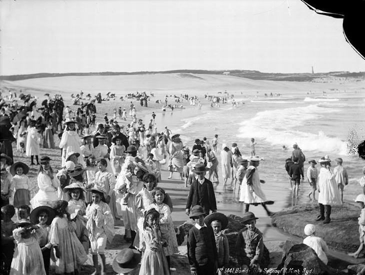 Bondi Beach in Australia circa 1900, before surfing and sunbathing became popular.