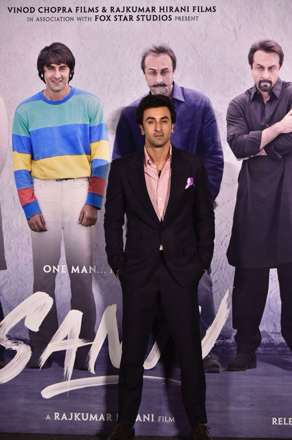Ranbir Kapoor poses for photographers on his arrival at the trailer launch of