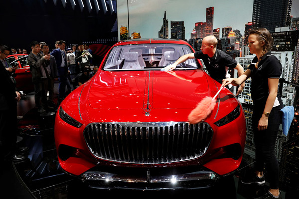 A Mercedes-Maybach Ultimate Luxury vehicle is displayed during a media preview of the Auto China 2018 motor show in Beijing, China.
