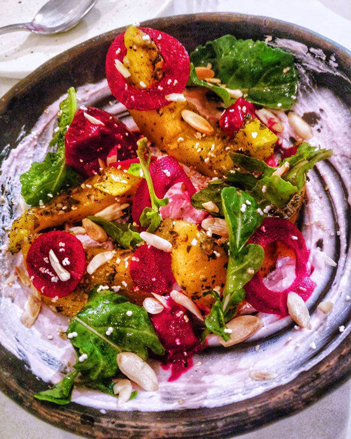 3. Pumpkin and Beetroot Salad with Feta cheese
