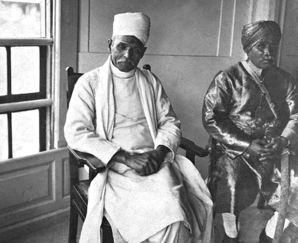 August 8, 1947:  Politician Madan Mohan Malviya sits in a political meeting at New Delhi