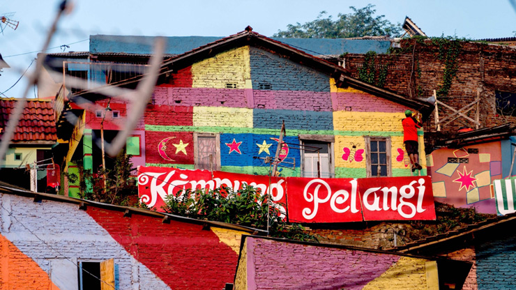 """The rainbow village"" in Semarang, central Java, that has become an Internet sensation and attracting hordes of visitors"