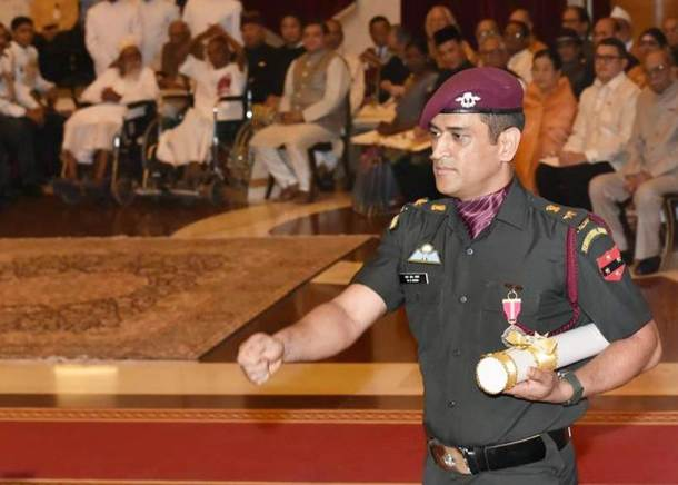 Mahendra Singh Dhoni, who was conferred with the honourary title of Lieutenant Colonel in Indian Army in 2011, was wearing his army uniform at the ceremony. He was granted the honour by the former President of India Pratibha Patil at a ceremony in New Delhi.