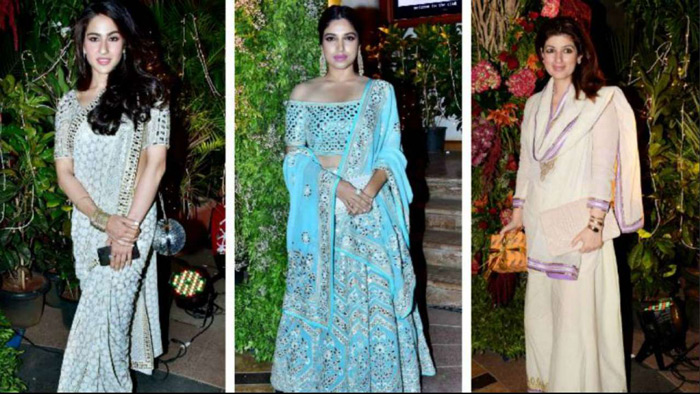 White seems to be the colour of the season as Twinkle Khanna and Sara Ali Khan looked stunning in white. Bhumi Pednekar opted for a light blue Abu Jani Sandeep Khosla lehenga and looked gorgeous.