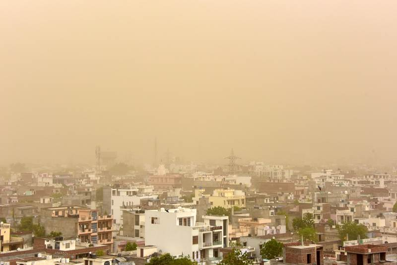 An aerial view of the dust-covered sky in Jaipur in Rajasthan on Tuesday,