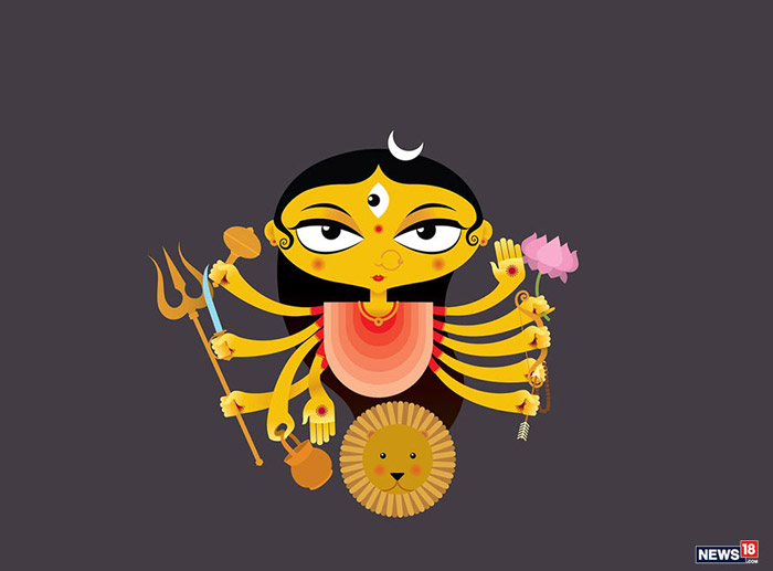 "Mata Chandraghanta: This is the third form of goddess Durga. Literally translated, her name means the one who has a ""crescent moon shaped like a bell"". She is believed to reward devotees with her elegance and bravery, and eliminate all their sins, physical sufferings, mental tribulations and ghostly hurdles."