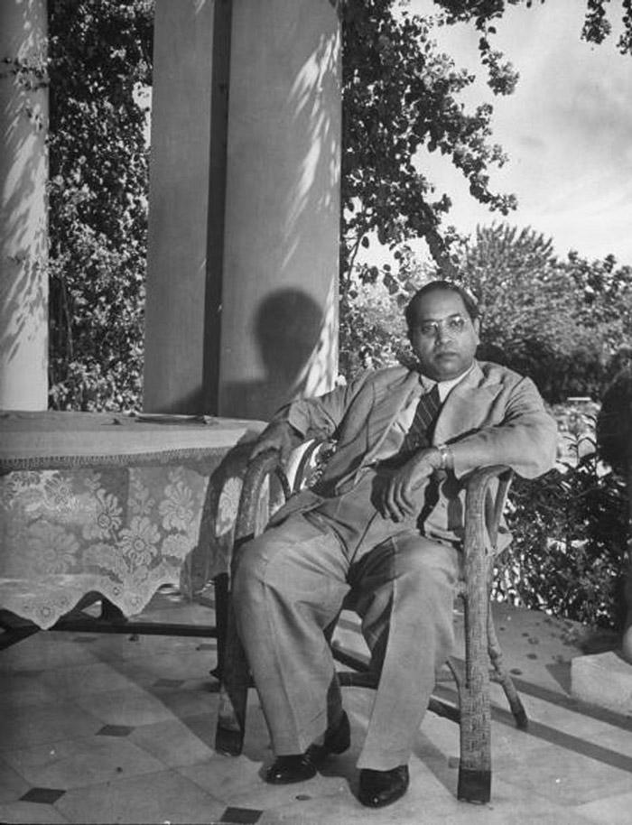 Hon. Dr. Bhimrao Ramji Ambedkar relaxing on his veranda at home