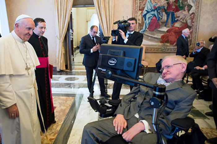 Pope Francis meets English theoretical physicist and cosmologist Stephen Hawking.