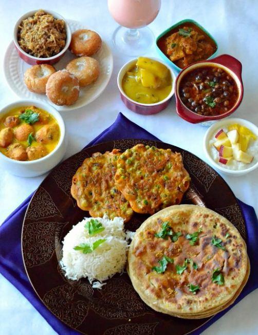 4. Bhojpuri Thali The Bhojpuri thali can surprise you with its multitude of flavours. The crispy bharbhara,  the usual dahi chura for breakfast, golden brown sattu ka paratha, ghugni, the kala channa curry, besan ki sabji/  besan ki machhli and the sweet raw mango curries will take you on a culinary journey like no other.