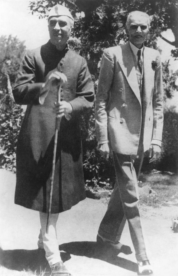 Mohammad Ali Jinnah and Jawaharlal Nehru at a meeting in Shimla, in 1946. This was the first time Jinnah demanded the creation of an all-Islamic state, Pakistan