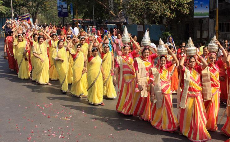 Members of Jain Community participate in a religious rally to celebrate Mahavir Jayanti in Thane.