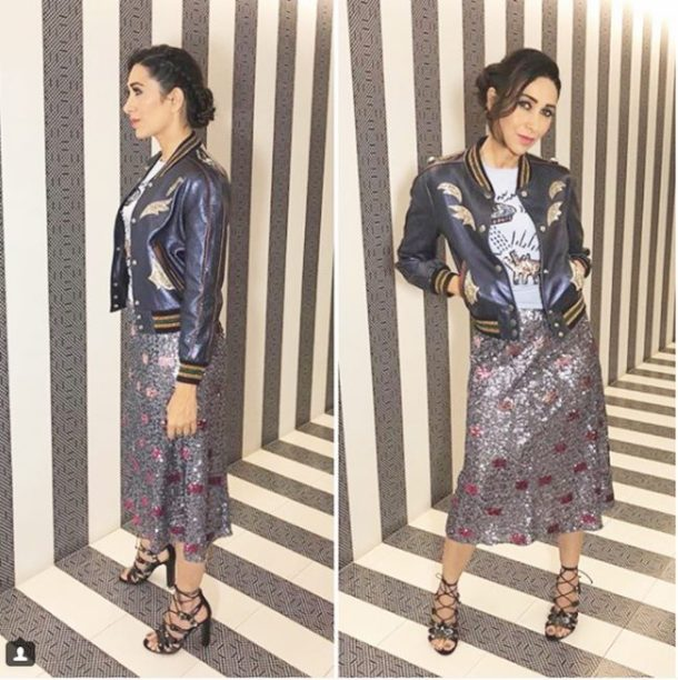 HIT: Karisma Kapoor, who was spotted attending a store launch in Chennai opted for a skirt, tee and jacket combo, all from the American brand, Coach.