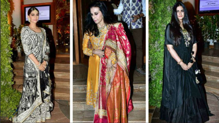 In midst of reports of Abu Jani-Sandeep Khosla designing the wedding trousseau for Sonam Kapoor, the rumoured bride-to-be along with mom Sunita Kapoor and sister Rhea Kapoor was also spotted at the party.
