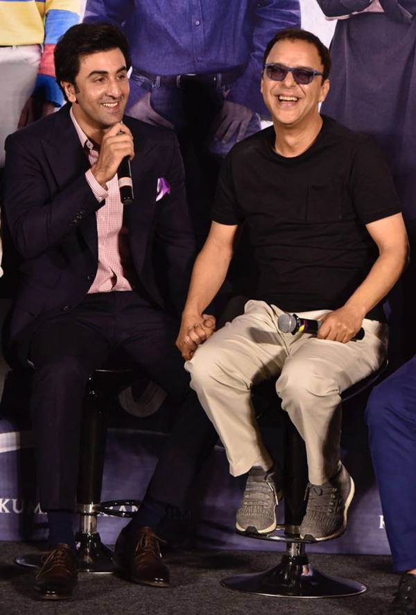 Ranbir Kapoor and Vidhu Vinod Chopra during the trailer launch of