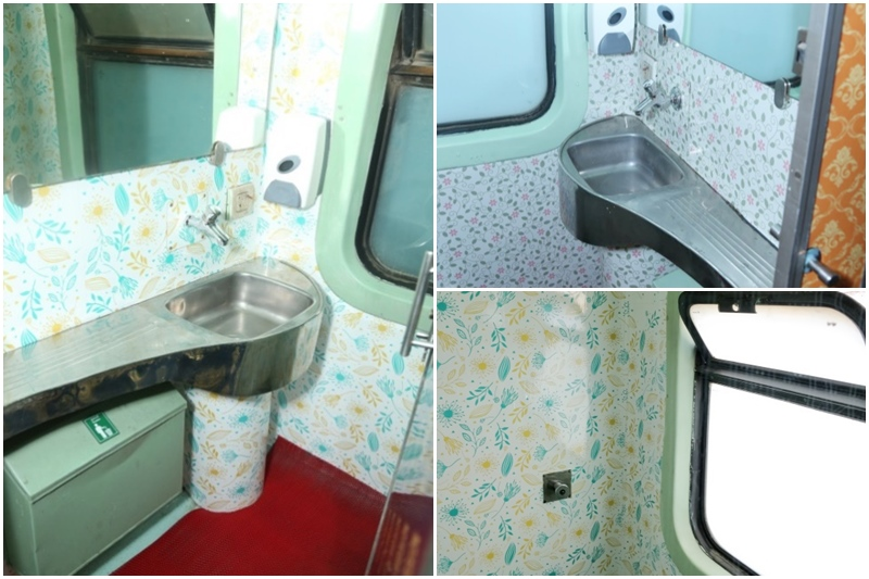 Mumbai-Delhi Rajdhani Express: The toilets of the premium train now have anti-graffiti vinyl wrapped interiors with floral design.