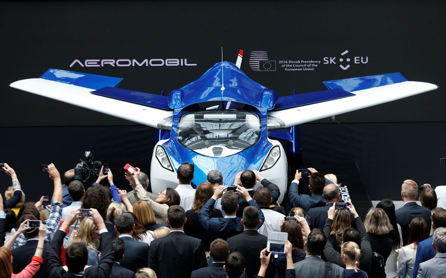 AeroMobil, a flying car prototype, is pictured during a ceremony marking the taking over of the rotating presidency of the European Council by Slovakia, in Brussels, Belgium.