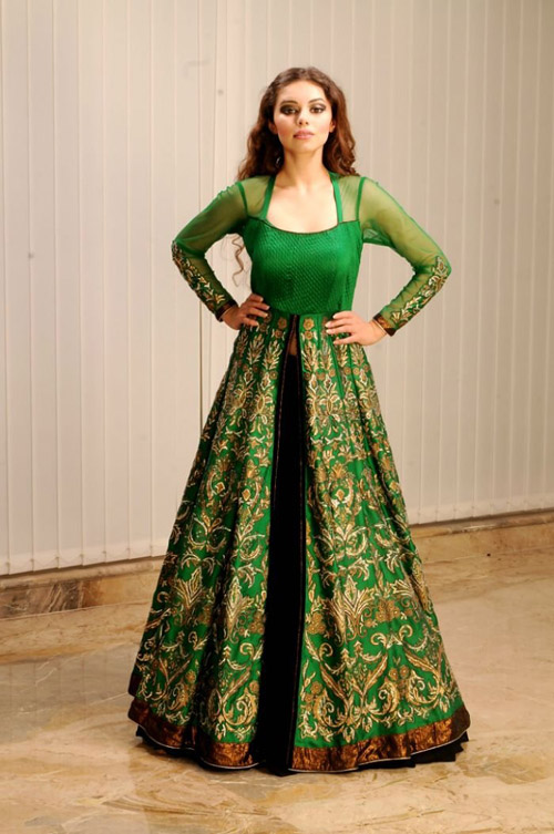 5. Turn your lehenga set into a brand new anarkali by stitching the choli and the lehenga skirt together.