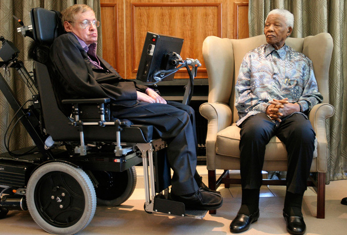 Stephen Hawking with former South African president Nelson Mandela during his visit to South Africa.