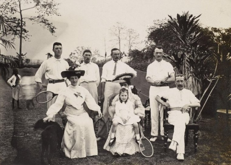 A group of British tennis players photographed in India about 100 years ago.