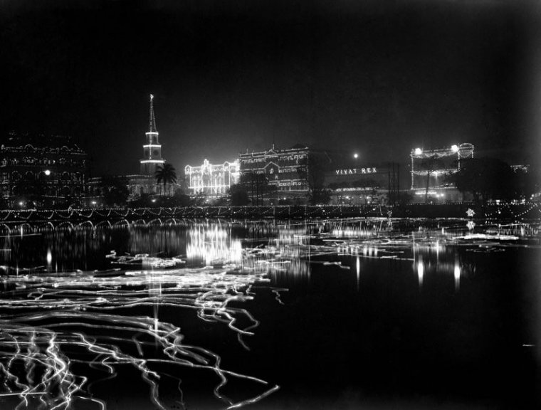 Buildings on south east side of the Lal Dighi (BBD Bagh, formerly Dalhousie Square), Kolkata lit at night for the 1912 British royal visit.