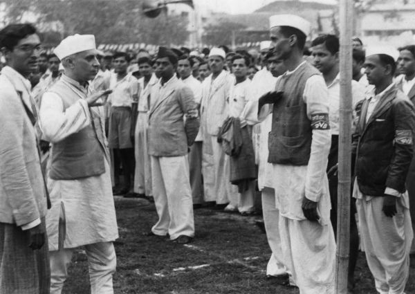 Sometime in 1942, Pandit Nehru interacts with participants of the Quit India movement