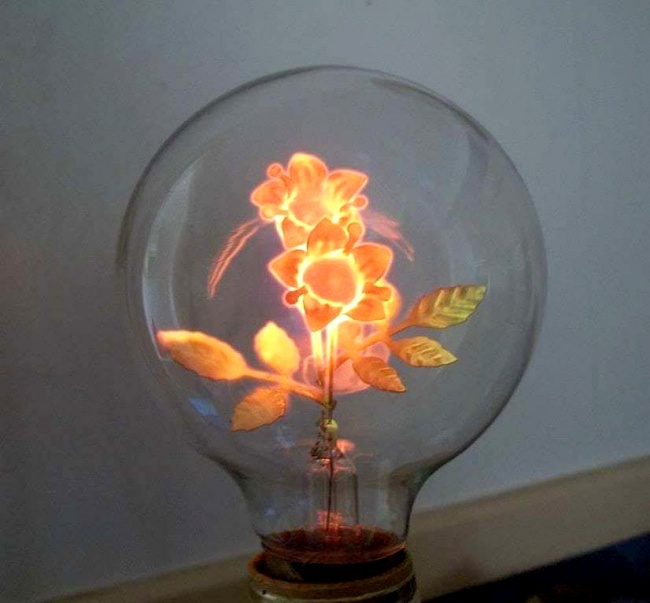 An ancient light bulb with an unusual filament