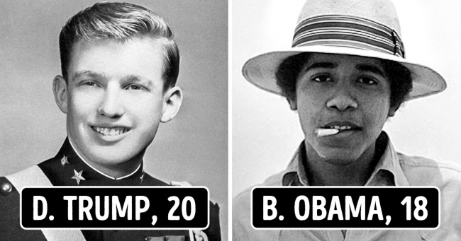 Donald Trump and Barack Obama in their youth