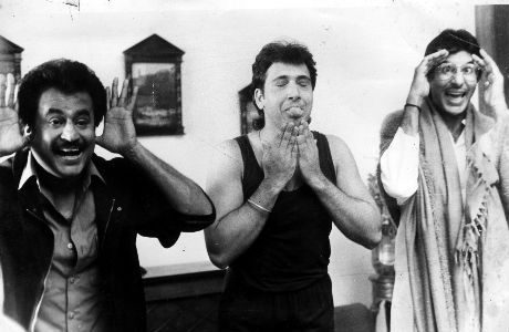 "Govinda, Amitabh and Rajnikanth during the shooting of ""HUM"""