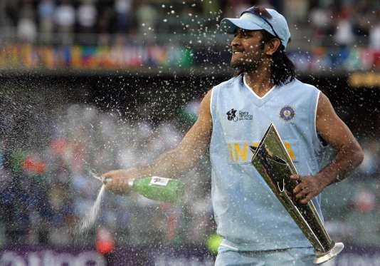 Indian skipper MS Dhoni celebrates after defeating arch-rivals Pakistan in the finals of the ICC World T20 Championship 2007.