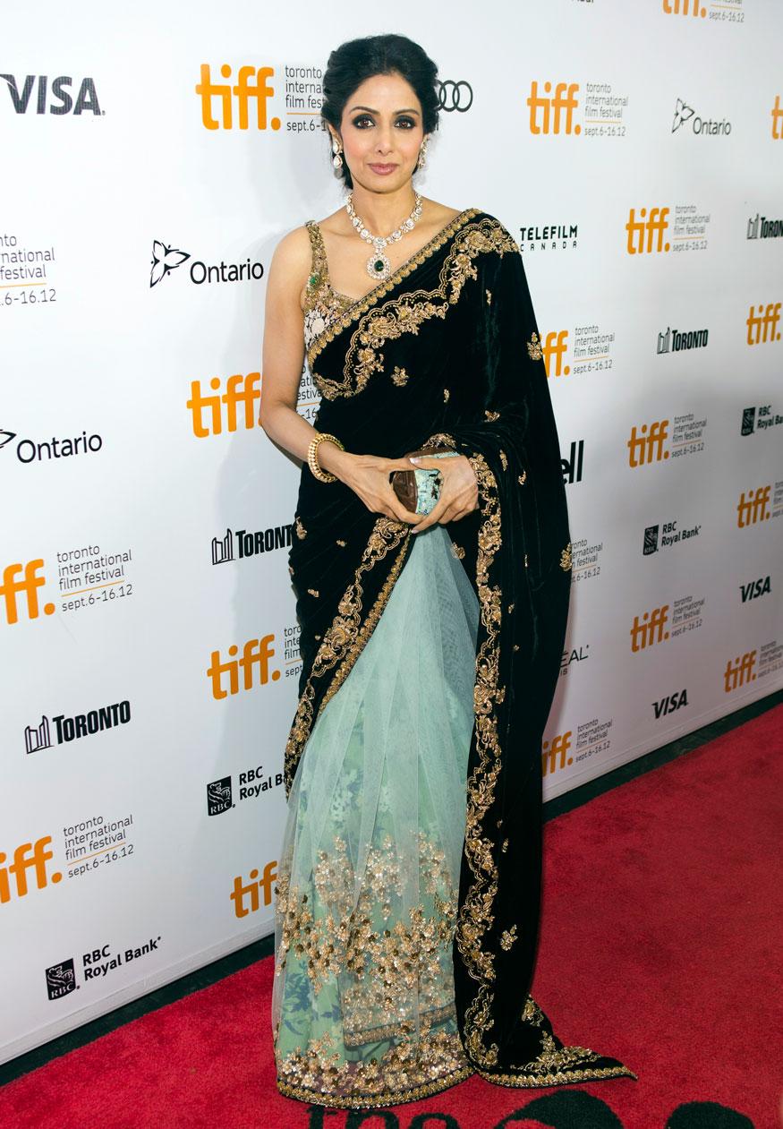 "Sridevi arrives for the gala presentation of ""English Vinglish"" at the 37th Toronto International Film Festival."