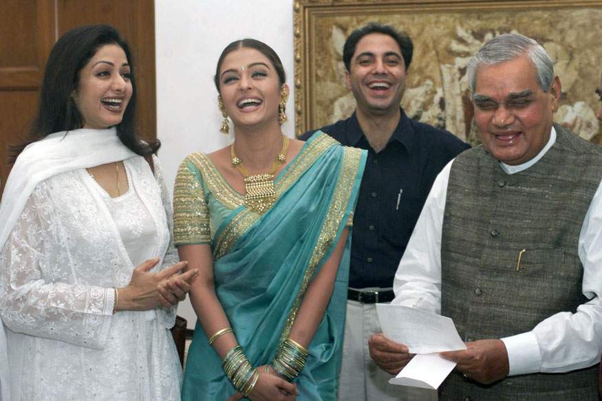 Atal Bihari Vajpayee shares a laugh with film actresses Sridevi and Aishwarya Rai in New Delhi.